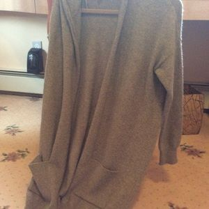 Topshop long open sweater with hood